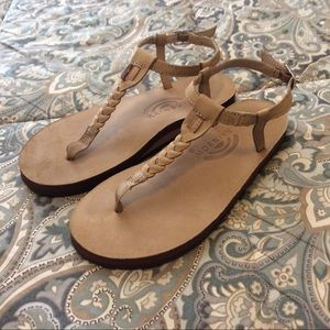 Mint Rainbow T Street Single Layer Sandals Worn 1x